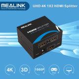 2 밖으로 Uhd 4k+3D+Ethernet를 가진 1X2 HDMI 쪼개는 도구 1.4V에서 Mealink 1