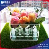 Radura romantica di lusso mentre contenitore di plastica acrilico nero di fiore della Rosa