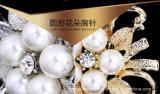 花嫁の花の真珠のブローチ(TB-002花の真珠)と結婚する銀製のラインストーンの水晶ブローチ