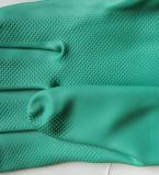 緑のニトリルの手袋の産業安全作業手袋