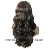 Двойн-Цвет способа пушистый развевает 3/4 половинных головных синтетических париков