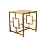 Table basse en verre d'or de balai d'acier inoxydable pour la maison (CTS-004)
