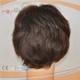 Tipo ondulado peluca llena de la longitud corta hermosa del cordón del Mens del pelo humano