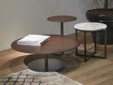 鉄の足(CTS-002)を搭載する簡単な円形木コーヒーテーブル