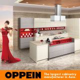 British Style Yellow Lacquer Grey Melamine Islands Kitchen Cabinet (OP15-058)