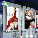 Segno della casella chiara per la pubblicità della visualizzazione con la cornice di alluminio