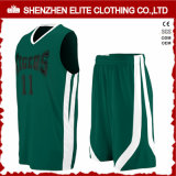 Le jeu bon marché d'uniforme de basket-ball d'hommes verts personnalisent