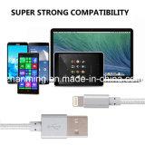 Silbernes Nylon umsponnenes Kabel des USB-Aufladungs-und Daten-Blitz-8pin