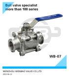 válvula de esfera 3-Pieces sanitária com a almofada de montagem do ISO 5211 Direcrt