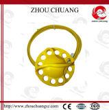 Tipo amarelo cadeado do PC da cor e da roda da segurança do corpo de aço do fechamento do cabo