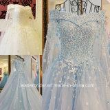 O laço nupcial luxuoso dos vestidos de esfera floresce os vestidos de casamento H20179 das pérolas