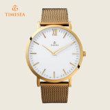 Einfacher Entwurfs-kundenspezifische Firmenzeichen-Ineinander greifen-Armbandmens-Armbanduhr 72340