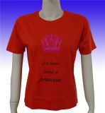 Form-Polyester-/Baumwollfrauen-rotes kurzes Hülsen-T-Shirt