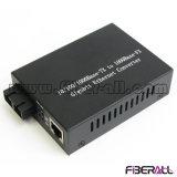 convertidor óptico de los media de la Auto-Negociación del 10/100/1000m con el transmisor-receptor el 10km de la fibra 1X9