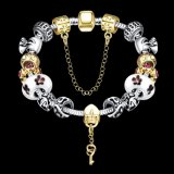 Heißer Verkaufs-Punkblume und Schlüssel-hängendes Silber überzogenes Armband