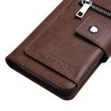 Carteira magnética de couro do bolso da ranhura para cartão da bolsa da moeda do Zipper do caso do carrinho do fólio do caso da aleta do esporte ao ar livre para o iPhone 7