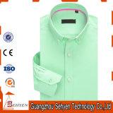 camicia di vestito convenzionale sottile dal manicotto lungo verde 100%Cotton per gli uomini