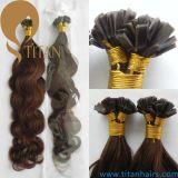 Prolonge plate de cheveu d'extrémité de Remy de kératine humaine brésilienne de cheveu (TT430)