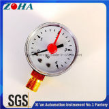 مصغرة الضغط المقاييس مقياس ضغط البلاستيك حالة العودة أو أسفل تركيب مع مؤشر قابل للتعديل الأحمر
