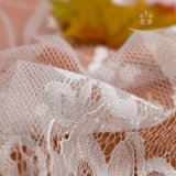 Tela francesa floral del cordón de Chantilly del cordón del desfile del bordado blanco de la frontera para la alineada de boda