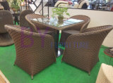 Jardim de lazer ao ar livre Courtyard Coffee PE Rattan Tables and Chairs