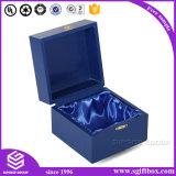 Caixa de relógio de papel de madeira da jóia da cor gama alta do azul real