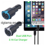 2-haven de Universele Zwarte Dubbele Lader van de Auto USB voor iPhone, Samsung