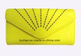 Бумажник PU конструкции отрезока лазера цвета лимона, портмоне способа женщин