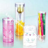 Frascos plásticos do cilindro do PVC do espaço livre relativo à promoção do pacote
