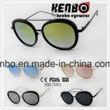 Óculos de sol plásticos Km17091 do metal da liga da sobrancelha oval do dobro do frame da forma