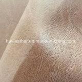 女性の人の靴Hx-S1710のための磨かれた合成物質PUの革