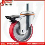 5 Zoll-mittlere Aufgaben-Schwenker PU auf Stahlfußrolle mit Stamm