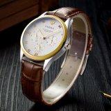 Relógio de pulso luxuoso do relógio clássico de quartzo do calendário 374 para homens