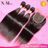 Cabelo indiano do Virgin em linha reta com fechamento 3 pacotes do cabelo indiano do Virgin com cabelo não processado de Facebeauty do cabelo humano do fechamento 7A