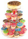 4層によってスタックされる党カップケーキおよびデザートタワー-明確なアクリルのケーキの立場
