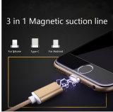 인조 인간 iPhone7/6s/6 Samsung 소니 Xiaomi를 위한 마이크로 USB & 점화 공용영역 & 유형 C를 가진 1개의 USB 금속 자석 데이터 케이블에 대하여 3