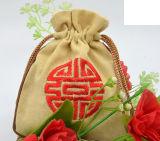 Bolso de lazo de encargo del yute del algodón, bolso del regalo del yute, bolso de lino, bolso del algodón
