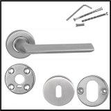 中国の工場価格の固体円形のローズのドアハンドルのステンレス鋼のドアハンドル