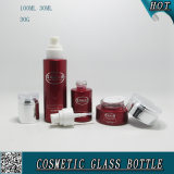 Frascos de vidro cosméticos dos tampões acrílicos e pulverização cosmética da cor vermelha dos frascos do vidro
