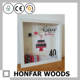 Décoration à domicile Wihite Wood Shadow Box Photo Frame