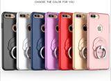 Het blauwe Geval/de Dekking van de Telefoon van de Bumper van de Absorptie van de Schok van de Greep van de Ring van iPhone Pu Harde Achter Anti-Radiation Mobiele