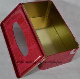 Custom Retangular la lata del metal del tejido, caja del tejido, el tejido caja de embalaje