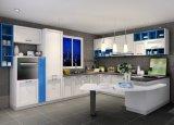 エーゲ海様式の青および白いマットのラッカーメラミン食器棚