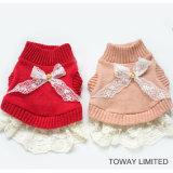 Alineada de los suéteres del animal doméstico del cordón lindo de Bowtie de la ropa del perro del diseño que hace punto