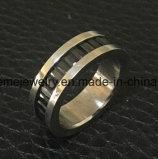 Titane marqueté par pierre Ring&#160 de noir de mode de bijou de Shineme ; (TR1916)