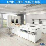 Moderner hoher weißer HPL Lack-hölzerne Küche des Glanz-