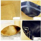 Bolsa de papel Ziplock de empaquetado de Kraft de la bolsa de la envoltura de la hoja con la ventana