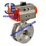 API/ANSI/JIS que flutua a válvula de esfera pneumática da bolacha do aço inoxidável