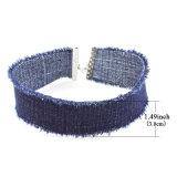 Het gotische Marineblauwe Met de hand gemaakte Brede Denim Jean Choker Necklaces van de Stijl voor Vrouwen