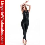 Het modieuze Leer Sleeveless Jumpsuit van het Netwerk voor Vrouwen